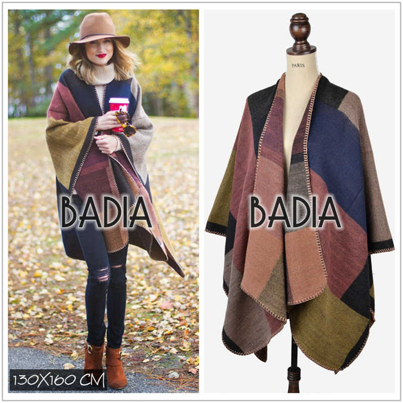 New autumn winter scarf brand colour block blanket coat check top cashmere wool woman blanket scarves plaid poncho blanket cape
