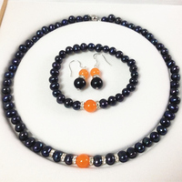 Envío libre caliente de la nueva Manera Del Estilo 2014 bricolaje Negro Perlas Cultivadas de akoya/Naranja jade pulseras aretes collar fijaron MY5011