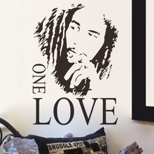 BOB MARLEY One Love Mural Removable Decal Room Wall Sticker Vinyl Art Decor Hiphop Boy's Bedroom Home Decor D287(China)