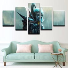 лучшая цена Game Poster Canvas HD Print Picture Framework Wall Art 5 Pieces DOTA 2 Mortred Phantom Assassin Paintings Home Decor Living Room