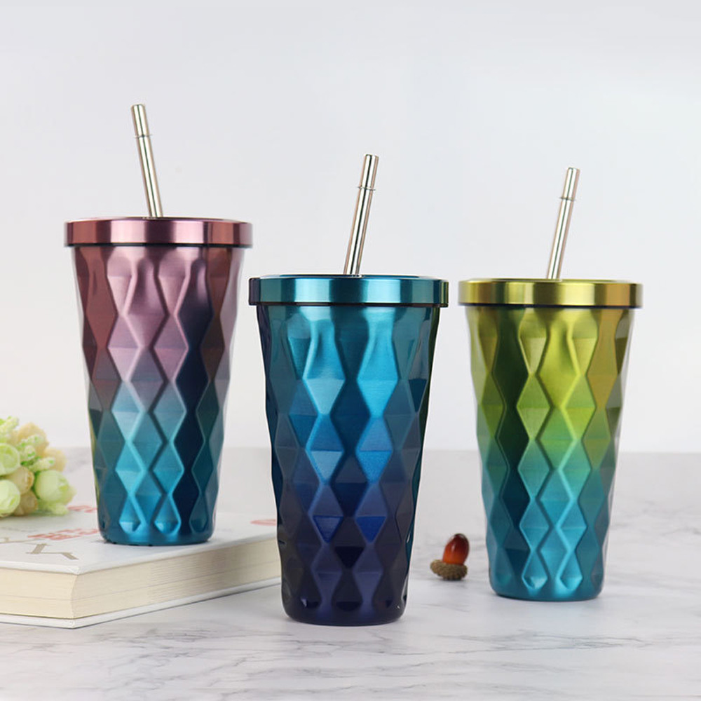 Diamond Gradient Tumbler With Straws Suitable For Restaurant And Kitchen Use