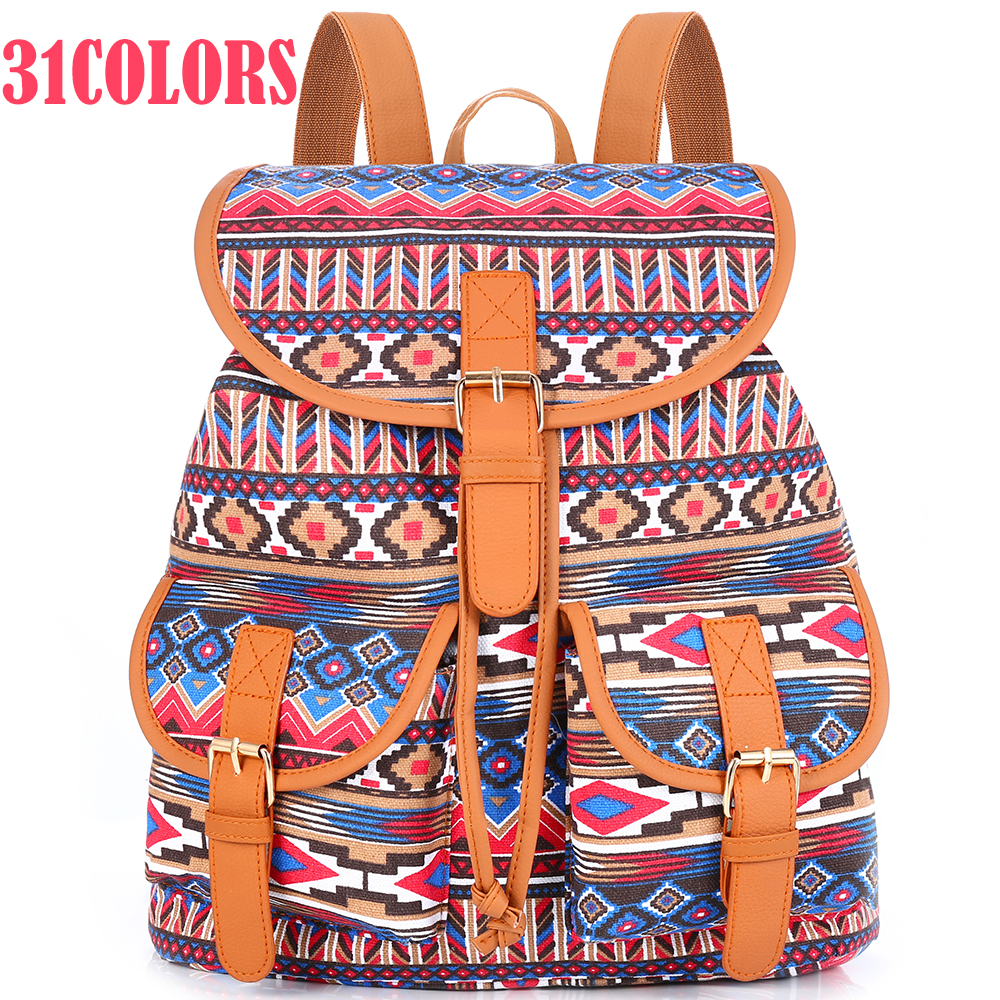 31 Colors Vintage Rucksack Printing Canvas Backpack Bohemian Grils School Bag Sac A Dos Drawstring Bag