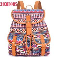 Sansarya 31 Colors Female Vintage Rucksack Printing Canvas Women Backpack Bohemian Grils School Bag Sac a