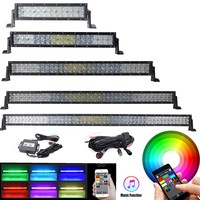 5D Straight/Curved RGB LED Light Bar 13.5 22 32 42 50 52 Inch 16 Million Colors Strobe Bluetooth Offroad Truck Boat 4X4 12V 24V