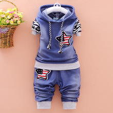 New 2017 Fashion Boy Clothing Cotton Long-sleeved Denim Jacket + Pants Baby 2 Pieces of Suit