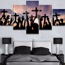 5 Piece HD Print Unity Prayer Crosses at Sunset Modern Decorative Paintings on Canvas Wall Art for Home Decorations Decor