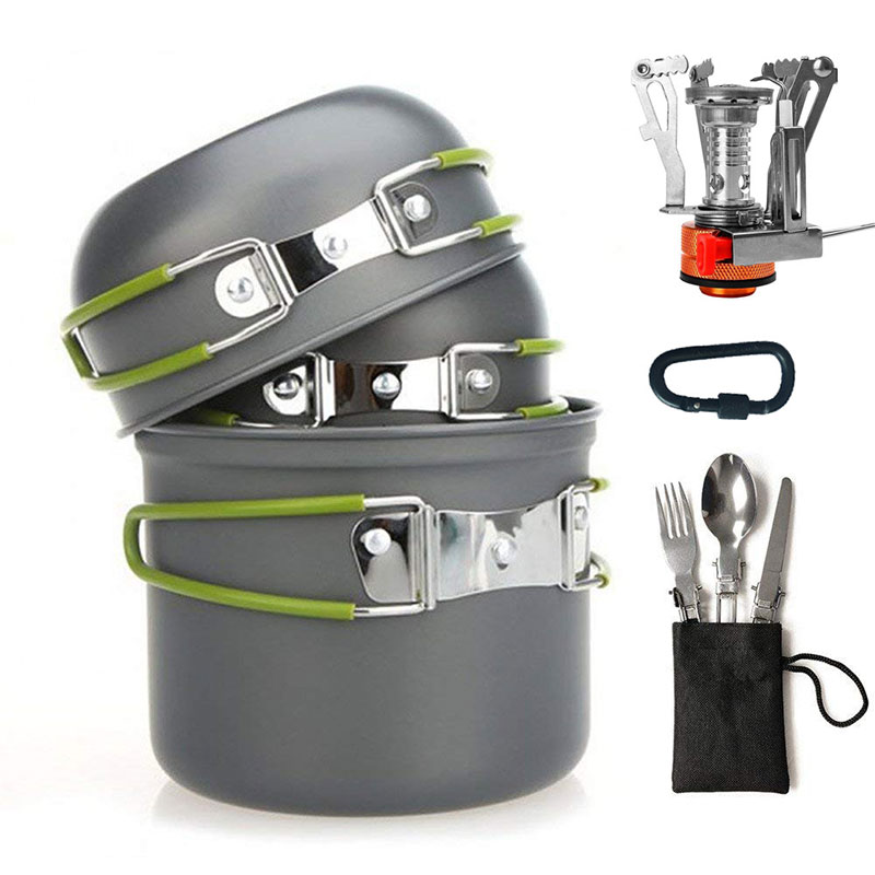 VILEAD Outdoor Portable Camping Pot 2-3 People Picnic Cookware 10 Sets of Hiking Tour Cooking Instant Noodles