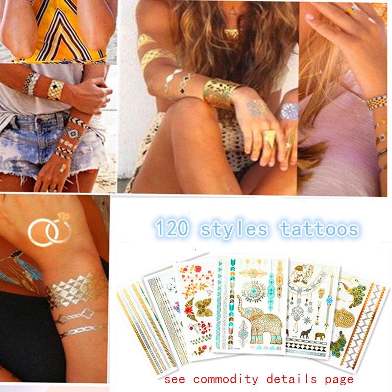 Ouro temporária tatuagens adesivos personalidade jóias de prata flash de tatuagens tatuagem cole maquiagem meninas falso à prova d' água do tatuagem do corpo