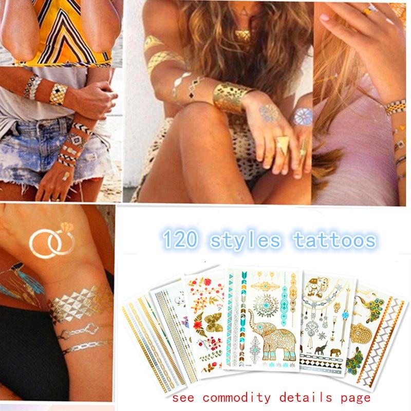 Временные Золотой Серебряный <b>татуировки</b> наклейки изделия ...