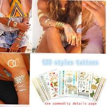 Купить с кэшбэком Temporary golden silver tattoos stickers jewelry personality tattoos flash tattoo paste makeup girls waterproof fake body tattoo