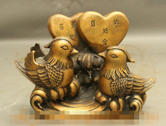 "S06670 8"" Folk Chinese Bronze 2 Loving Mandarin Duck Aix Galericulata Good Love Statue|statue of liberty sculpture|statue cat|statue hand - title="