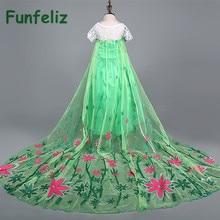 Long Dress for Girl Anna Elsa Dress Girls Party Dress robe fille 2015 Girls Summer Dress princess costume robe enfant