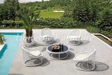 Latest designs four pieces white rattan sofa set with coffee table furniture