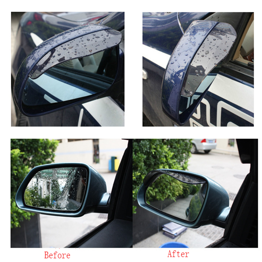 2pcs/lot Rainproof PVC Car Rear View Mirror Sticker Rain Eyebrow Weatherstrip Auto Mirror Rain Shield Shade Cover Protector