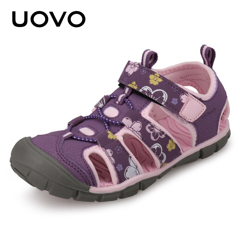 UOVO New Kids Girl Sandals Children Beach Shoes 2018 Summer Leather Sandals For Children Girls Printing Leather Sandales Filles uovo summer new children shoes kids sandals for boys and girls baotou beach shoes breathable comfortable tide children sandals