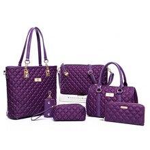 Señoras Bolsa de Asas Del Bolso + Bolso Crossbody + Carpeta + Bolso 6 Sets Moda Diamante Del Enrejado de Las Marcas de Oxford de Las Mujeres Bolsas de hombro QT-228