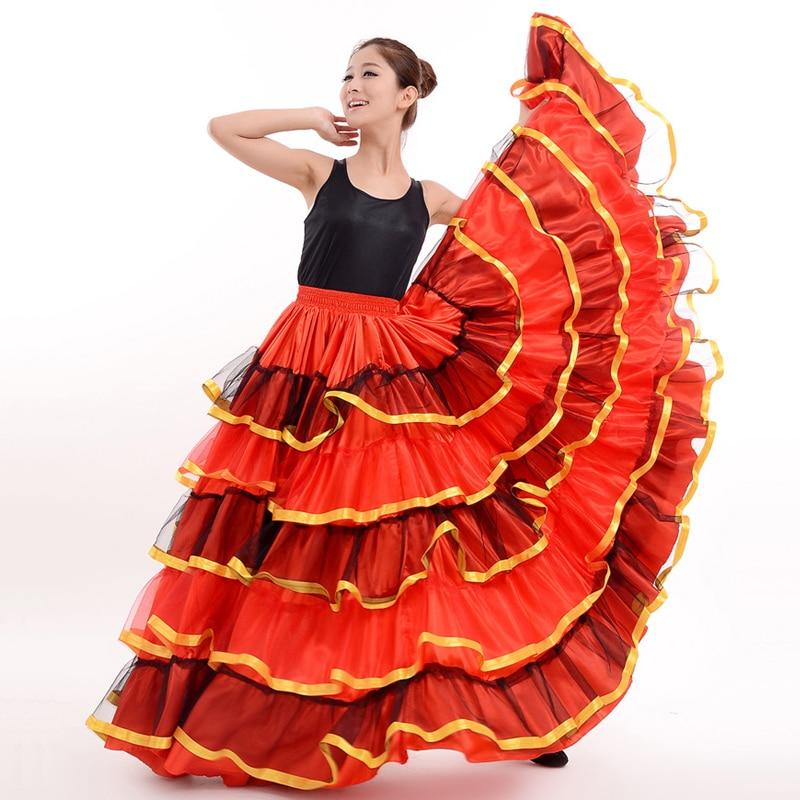 Spanish Flamenco Skirts Women Flamengo Dance Costumes Gypsy Skirt Ladies Ballroom Dancing Dress Stage Show Wear Clothing DN3049