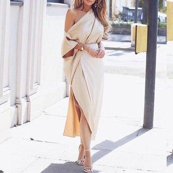 One shoulder wrap side slit maxi dress Elegant plunge women dress Autumn 2018 Fashion party dresses Robe femme long vestidos декоративні лампи із дерева у стилі бра