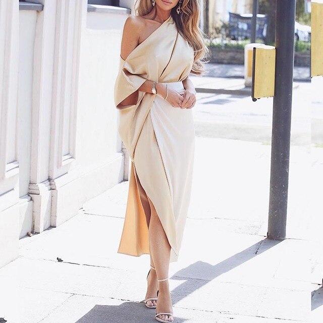 b0b8c7637e4702 One off shoulder wrap side slit maxi dress Elegant plunge women dress Autumn  2018 Fashion party dresses Robe femme long vestidos