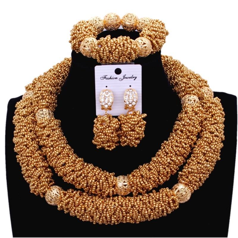Dubai jewelry Set Necklace Set Gold Crystal Bridal Jewellery Set Necklace Earrings bracelet 3 Pic For Women African Beads Set wholesale 5 set bohemian layered geometric strand 3 pcs jewelry sets african beads bridal crystal necklace set bracelet earrings