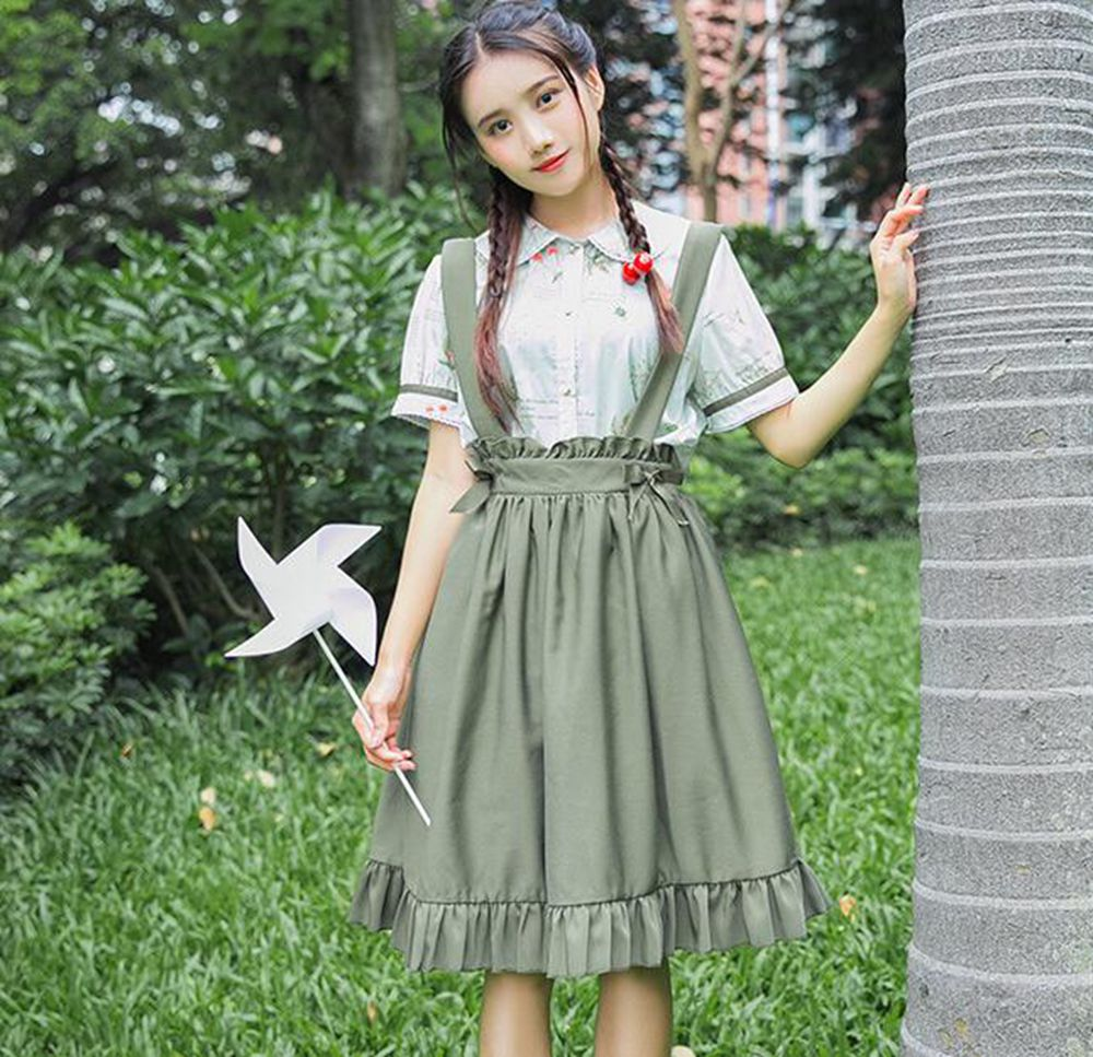 f9fcdc4b3e Mori Girls Women Cute Lolita Green Chiffon Short Sleeve Blouse and  Suspender Skirt Set Summer Outfit