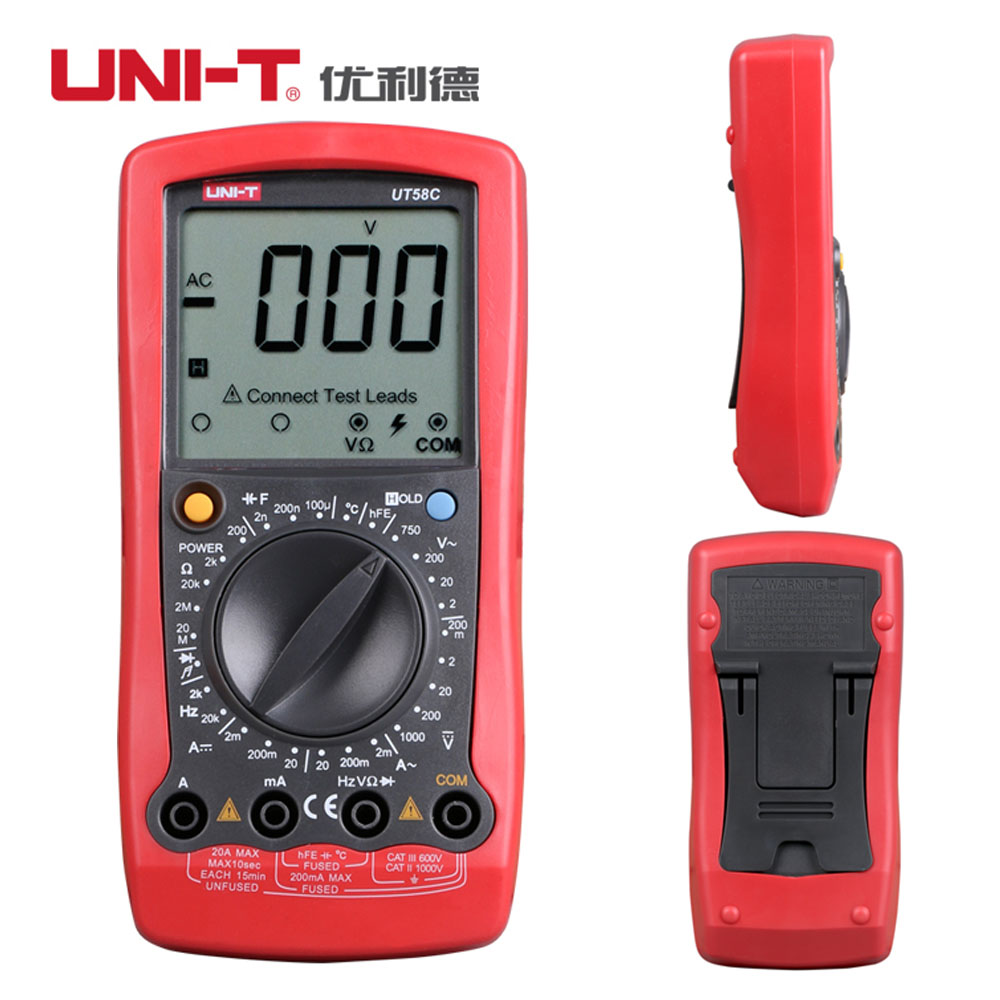UNI-T UT58C Ammeter Voltmeter Multitester Digital Multimeters DC AC Voltage Current Resistance Capacitance Meter Tester victor vc9807a 4 1 2 ac dc resistance digital multimeters ammeter voltmeter ohmmeter conductivity capacitance frequency tester
