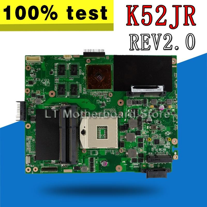 K52JR 512M Laptop Motherboard Para ASUS A52J REV2.0 X52J K52J K52JR K52JE K52JC K52JU K52JB Mainboard teste 100% OK