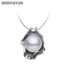 SHDIYAYUN Pearl Necklace Pearl Jewelry Natural Freshwater Pearl Seashell Pendants 925 Sterling Silver Jewelry For Women Gift