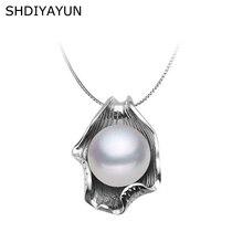 SHDIYAYUN Pearl Necklace Pearl Jewelry Natural Freshwater Pearl Seashell Pendants 925 Sterling Silver Jewelry For Women Gift mydear pearl jewelry pearl pendants 100