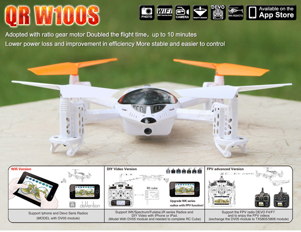 Walkera QR W100S FPV WIFI Remote Control RC Quadcopter With HD Camera For iphone