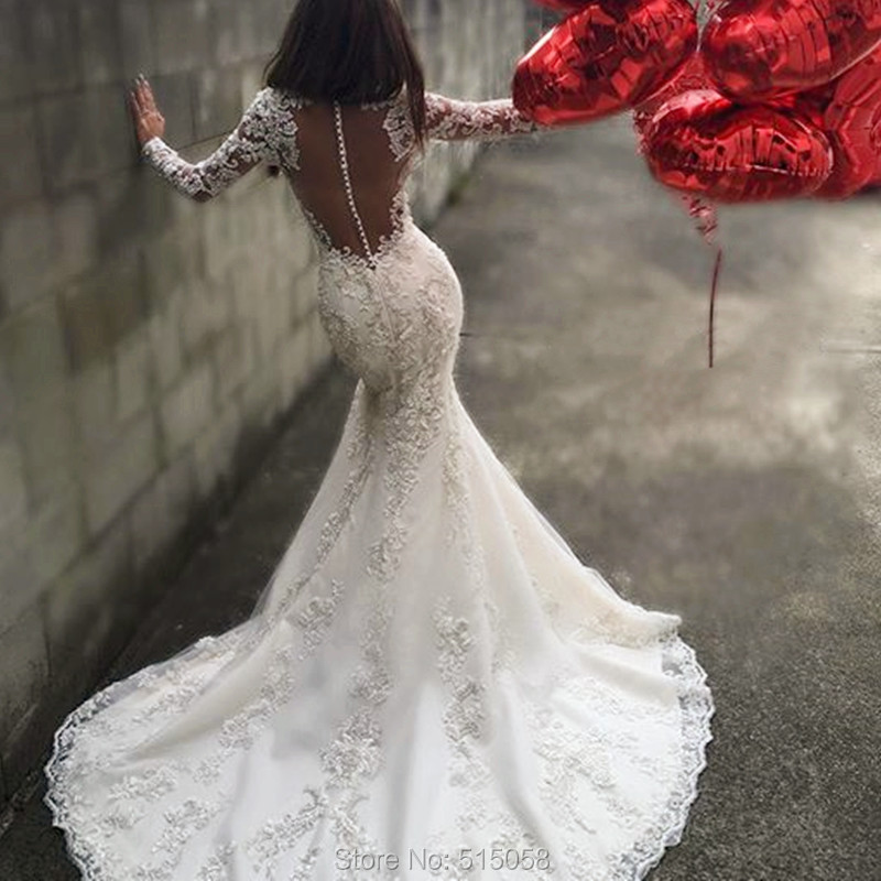 Sexy open back long sleeves mermaid wedding dresses lace for Lace wedding dresses open back