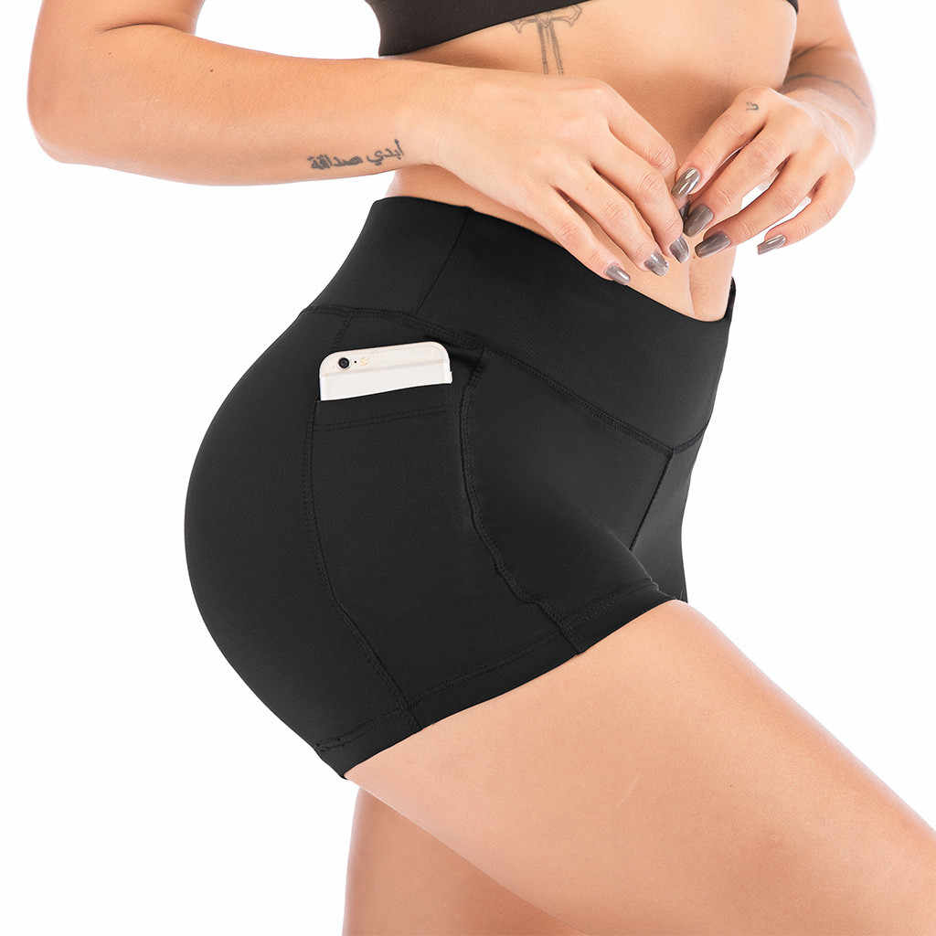 High Waist Athletic Yoga Shorts For Women Pocket Sport Cycling Shorts Compression Workout Fitness Gym Running Shorts #N