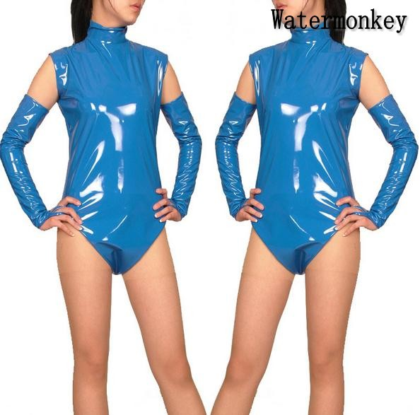 Watermonkey Brand Cosplay Halloween Costumes PVC leather Sky blue half pack sexy cosplay clothing