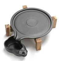 Stone mill tea tray household simple ceramic dry bubble table round kung fu wood tea table Black pottery tea tray Creative Gifts