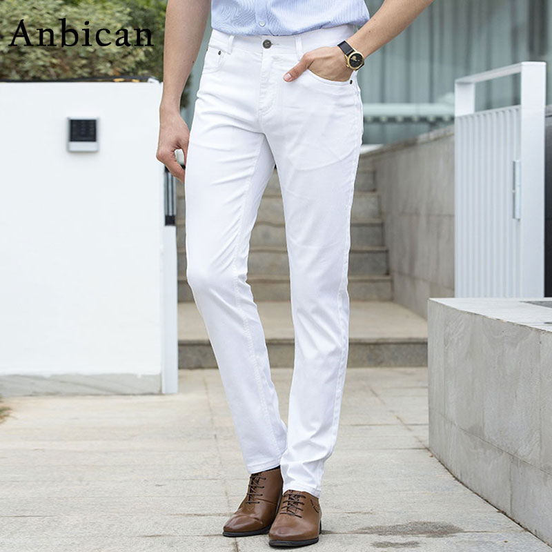 6becf10f7120 Anbican Business Leisure Men s Fashion White Casual Pants Spring Summer Slim  Fit Long Trousers Male Straight Formal Pants-in Casual Pants from Men s ...