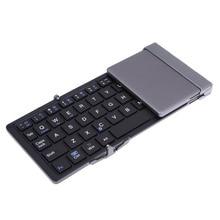 Folding Bluetooth 3 0 Wireless Keyboard Slim Metal Foldable Klavye for Android IOS Smart Phone Windows
