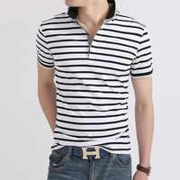Polo de hombre [Stock], camisa de manga corta coreana para hombre, polo de reparación de verano, camisa polo a rayas de solapa informal para hombre, 6556