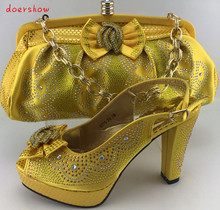 doershow Women Shoe and Bag To Match for Parties African Wedding Shoe and Bag Sets African Ladies Shoe and Bag Set   PME1-16