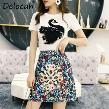 Delocah Spring Summer Ladies Suits Runway Fashion Designer Gorgeous Animal Printed T-shirt+Crystal Sequined Skirt 2 Pieces Set original new lcd display and touch screen digitizer for htc one m8 free shipping test ok free tracking no