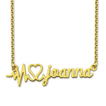 Wholesale Personalized Heartbeat Name Necklace Gold Plated Unique Name Necklace Valentine's Day Gift татуировка переводная heartbeat