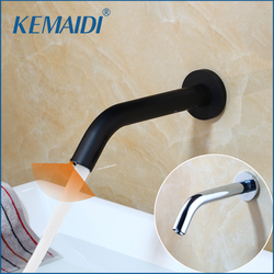 KEMAIDI Lavatory Bathroom Faucets Black Chrome GoldWall Mount Sensor Faucet Automatic Hands Free Touch Sensor Bathroom Sink Tap