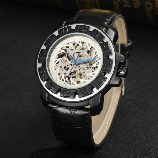 7de33b792c5 Fashion Gear Design Automatic Mechanical Watches Leather Band Skeleton  Watch Casual Sports Men Watches relogio masculino GOER