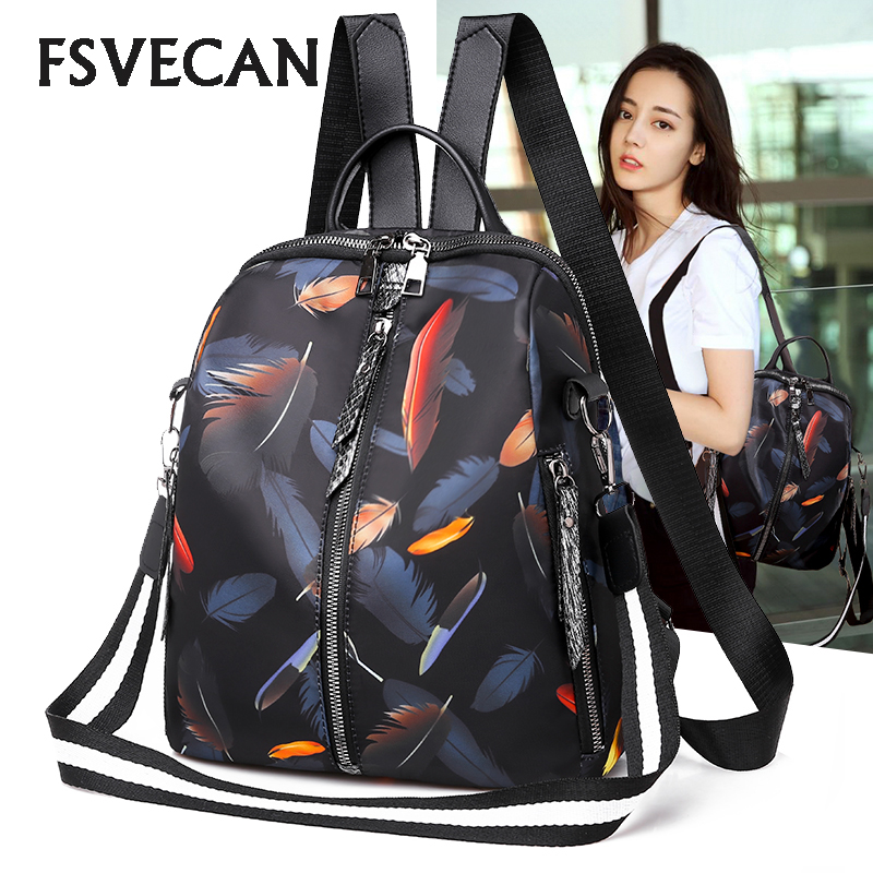 2019 Casual Oxford Waterproof Women Backpacks High Quality For Feathers Multifunctional Travel School Bag New