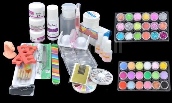 ATT-95 Hot Sale Acrylic Glitter Powder Glue File French Nail Art UV Gel Tips Kit Set Dust Stickers Brush pro nail art uv gel kits tools pink uv lamp brush tips glue acrylic powder set 20 2018