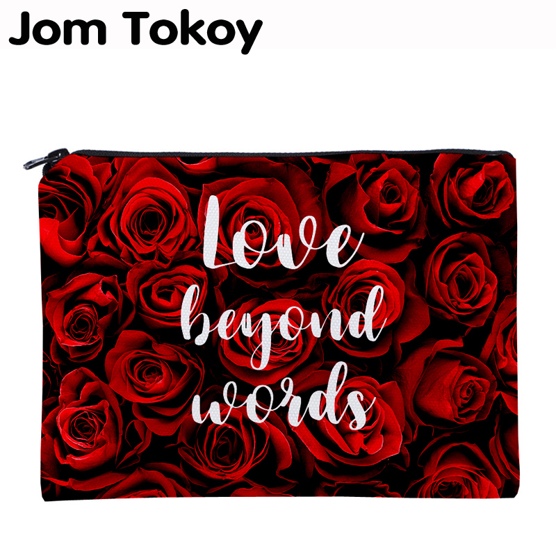 Jom Tokoy Printing Red Rose Necessaries For Travelling Organizer Makeup Bag Women Letter Square Cosmetic Bag With Zipper