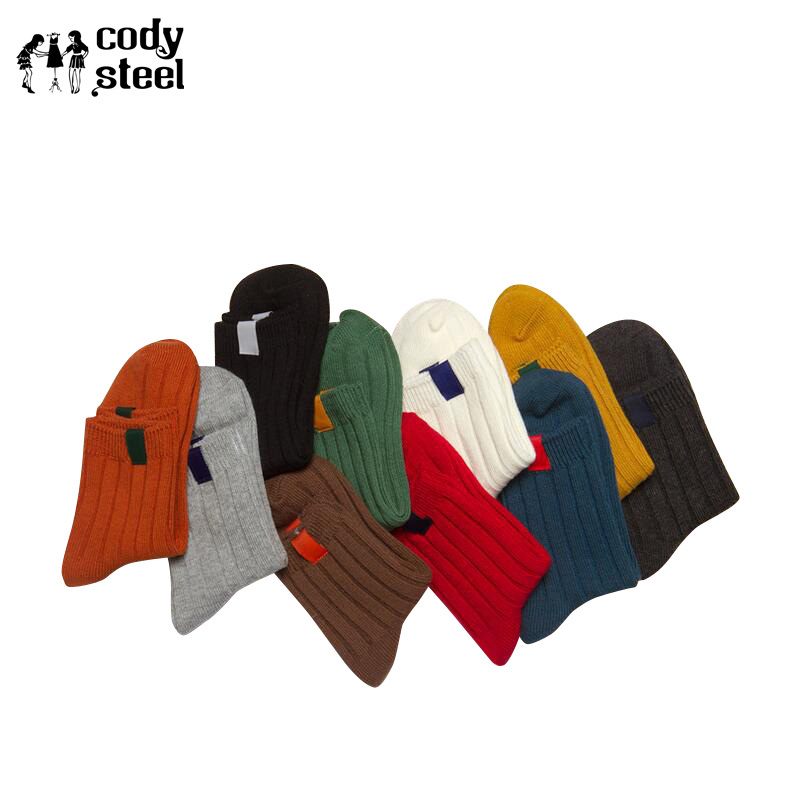 Cody Steel Cotton Woman Fashion Socks Thicken Casual Winter Socks For Girl Knitted Solid Colors In Tube Socks Women 3pairs/lot