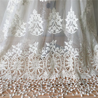 Vintage Floral Ecru Cotton Lace Fabric Embroidery Tulle Mesh Lace Fabric Trim For Prom Dress, Costume Design, Home Decor