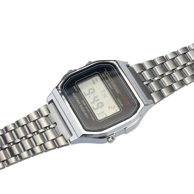 Relogio Masculino 2018 top brand luxury Full Stainless Steel Vintage Digital Relogio masculino Alarm Stopwatch Gold Watch Feida 5