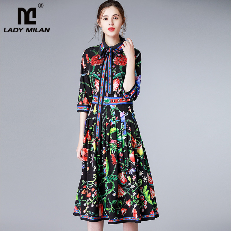 New Arrival 2018 Womens Turn Down Collar 3/4 Sleeves Sash Bow Floral Printed Pleated Fashion Designer Runway Dresses