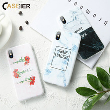 CASEIER Phone Case For iPhone 7 8 Plus XR X XS MAX  6 6s Text Marble Embossed Phone Cases For iPhone 5 5S SE Back covers Coque цена и фото